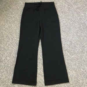 Lululemon Still Grounded wide leg black pants Sz 8